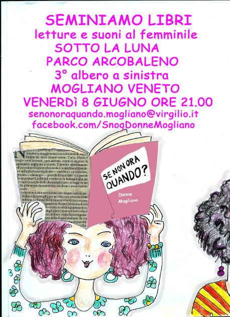 8 giugno al Parco Arcobaleno le donne di SNOQ seminano libri e storie dalle 21